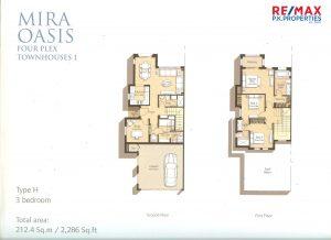 Mira Oasis Type-H - 3 BR - Floor Plan