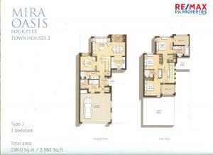 Mira Oasis Type-J - 3 BR - Floor Plan